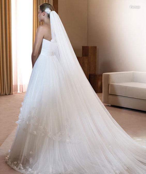 девушки в свадебном платье с фатой фото со спины